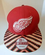 NWT Detroit Red Wings NHL Red Snapback Hat New Era 9 Fifty Red Black White Brim