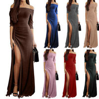 Sexy Women Mermaid Cocktail Evening Long Sleeve Off-Shoulder Solid Maxi Dress