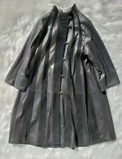 David 2 Leather Factory Women's EU 46 Black Leather Overcoat Suede Striped Italy