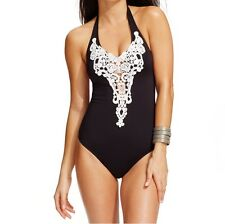 Kenneth Cole One Piece Sz S Black Mult Swimsuit Crochet Halter Open Back RS5JJ10