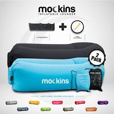 Mockins Inflatable Black & Blue 2 Pack Blow Up Lounger Sofa Chair - Travel Bag