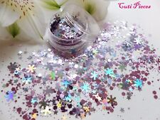 Nail Art Chunky *Starlight* Xmas Pink Silver Snowflakes Hex Glitter Spangle Pot