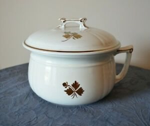 Chamber Pot with Original Lid ~ Tea Leaf China ~ Ironstone ~ Meakin ~ c 1890