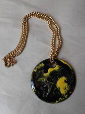 Vintage Meka Denmark Enamel Copper Swirly Yellow Black Pendant Necklace