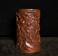 noble natural Boxwood Warrior God guan gong yu under pine trees statue Brush Pot