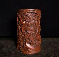 noble natural Boxwood Warrior God guan gong yu under pine trees statue Brush Pot