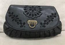 REVIEW Handbag Ladies Purse Clutch Black Faux Leather Soft [E]