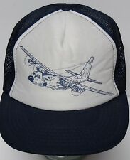 Vtg 1990s UNITED STATES MILITARY Aircraft FOUR PROPELLER AIRPLANE Snapback Hat