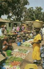 Old Photo.  Gambia.  Local Market - Selling Fruits and Vegetables