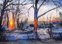 Original Aquarell Gemälde Winter Morgen Bäume Stadt Bremen A4 Studio Sterna