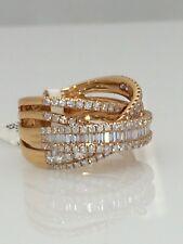 18 Carat Rose Gold Diamond Set Crossover Dress Ring