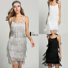 Jazz Fringe Flapper 1920s 30s Fancy Dress Gatsby Womens Costume Dress ILOE