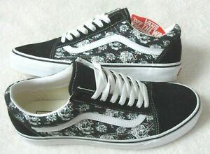 Vans Men's Old Skool Flash Skulls Black White Canvas Suede Skate shoes Size 9.5