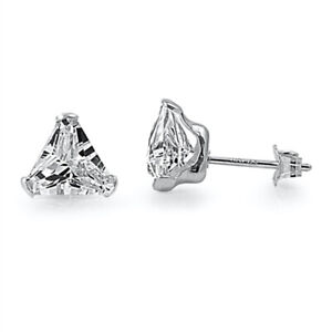 Tiny 4 mm Cubic Zirconia CZ Triangle Stud Earrings in 925 Sterling Silver