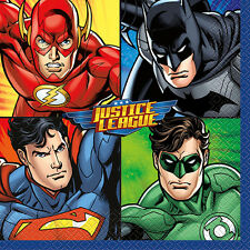 JUSTICE LEAGUE LUNCH NAPKINS (16) ~ Birthday Party Supplies Dinner Serviettes