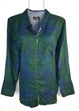 Lucky Brand Women's Dark Green Plaid Boyfriend Button Shirt Top Blouse L NWT