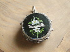 ANTIQUE VICTORIAN SILVER FORGET ME NOT PHOTO LOCKET MOURNING PENDANT WATCH FOB