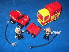 LEGO DUPLO VILLE FEUERWEHR 1 X PRITSCHEWAGEN LKW AUTO + AUFSATZ + VIEL ZUBEHÖR