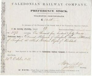 UNITED KINGDOM 1852 THE CALEDONIAN RAILWAY COMPANY Glasgow Zertifikat über 1.440