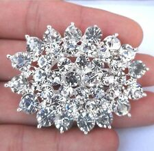 "2.2."" LARGE SILVER WHITE TONE OVAL CLUSTER DIAMANTE RHINESTONE BROOCH PIN"