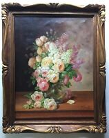 19th Century Antique oil Impressionist painting Bouquet of Roses Flowers signed