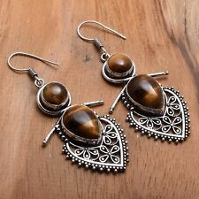 "Earrings Jewelry 2.4"" Ae 83930 Tiger Eye Handmade Drop Dangle"