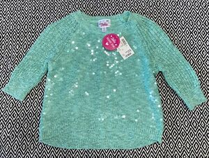 ~Justice~ Brand Girls Mint Green Sequence Sweater Top Size 6 NWT