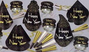 New Year Party Pack For 10 - Hats Tiaras Beads and Blowouts