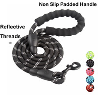 Dog Puppy Leash - Reflective Heavy Duty Lead - Padded Handle - 5' - USA Seller