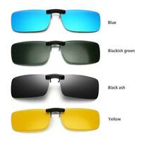 1xPolarized Sunglasses Clip On Driving Glasses Day Night Vision Shade Lens Black