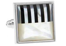 Abalone Cufflinks Square Piano Wedding Gift Box & Polishing Cloth Free Ship USA