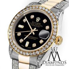 Ladies 26mm Rolex Oyster Perpetual Datejust Custom Diamonds Black Tone Dial