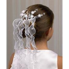 Haargesteck weiß Haarschmuck weise Bänder Kommunion Brautschmuck Organza