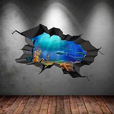 Acuario todo color bajo el agua peces agrietada Pared Arte Pegatina 3D WSD93