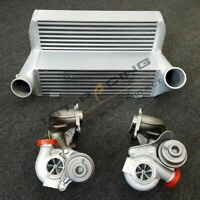 "Fit BMW 335i 135i M 335is E90 7.5"" Stepped Race FMIC Intercooler+Upgrade Turbos"