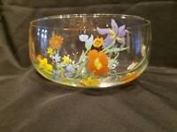 Vintage - Floral Glass Serving Bowl - Excellent Condition