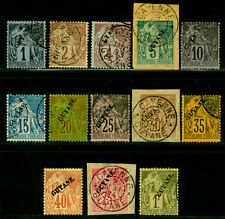 French GUIANA 1892 Commerce - complete set  Sc# 18-30 used  SCARCE