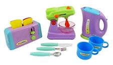 Children's Kitchen Appliances Toy Set Mixer Toaster Kettle Cups & Utensils PS414