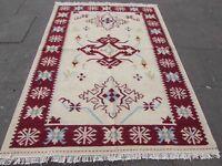 Old Traditional Hand Made Oriental Indian Kilim Cream white Wool Kilim 224x162cm