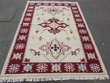 Old Traditional Hand Made Oriental Indian Kilim Cream white Wool Kilim 224x162cm