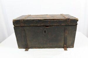 Antique 1800s Wooden Stagecoach Strong Box - Western Wells Fargo - Metal Straps