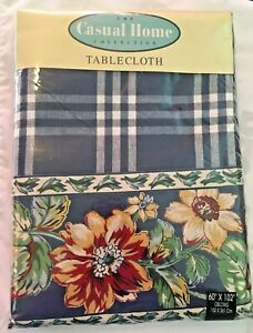 """Casual Home Fabric Tablecloth 60"""" X 120"""" Oblong  Blue Plaid Floral Border NEW"""