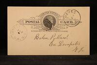 New Hampshire: Keyes 1890 Postal Card, RARE RARE DPO Sullivan Co