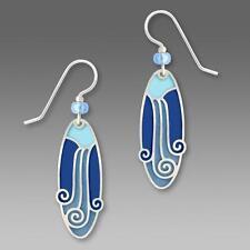 Adajio Earrings Blue Oval with Shiny Silver Tone Waterfall Overlay Handmade USA
