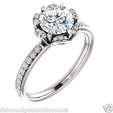 Halo Style 10k White Gold Diamonds Flower Semi Mount Setting Engagement Ring