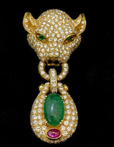 3.05ct Round Diamond Emerald Ruby 14K Solid Yellow Gold Panther Pendant Brooch