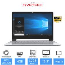 "FIVETECH 3 13.3"" Light Weight Laptop Intel Celeron N4000 4GB RAM 32GB eMMC Win10"
