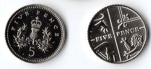 Various UNC Brilliant Uncirculated 5p Coin ~ 1983 1985 1994 1999 2017 etc. MINT