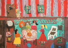 Vintage expressionist gouache painting portrait signed
