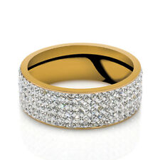 Sz8-10 Gold Silver Unisex CZ Stainless Steel Ring Men/Women's Wedding Band Rings